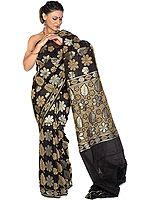Black Jamdani Sari from Banaras with All-Over Flowers Woven in Jute and Zari