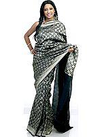 Black Jamdani Sari Hand-Woven with Surreal Bootis in Golden Thread