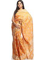 Hand-woven Metallic-Gold Jamdani Sari with All-Over Brocade Weave