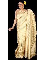 Cream Jamdani Sari with Golden Thread Weave All-Over