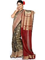 Gray and Maroon Jamdani Sari from Banaras with All-Over Golden Thread Weave All-Over