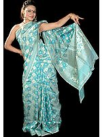 Green Jamdani Sari with All-Over Hand-Woven Flowers in Golden Thread