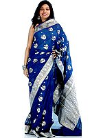 Hand-woven Prussian Blue Jamdani Sari with All-Over Golden and Silver Woven Large Bootis