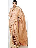 Peach Jamawar Banarasi Sari with All-Over Bootis Woven by Hand