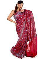 Purple Designer Jamdani Sari from Banaras with All-Over Paisleys and Bootis