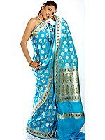 Robin-Egg Blue Sari from Banaras with Jamawar Border and Anchal