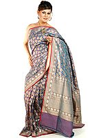 Steel-Blue Banarasi Jamdani Sari with Stylized Bootis Woven by Hand All-Over