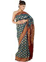 Teal Jamdani Banarasi Sari with Large Bootis Woven All-Over