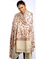 Cream Kashmiri Shawl with Crewel Embroidery All-Over
