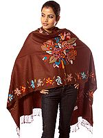 Plain Brown Stole Shawl with Multi-Color Kantha Stitch Embroidery
