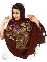 Dark-Brown Stole with Kantha Embroidered Peacock with Sequins