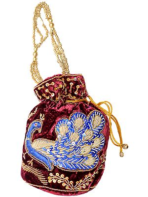 Drawstring Potli Bags with Zardozi Embroidered Peacock and Sequins