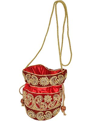 Drawstring Potli Bag with Golden-Embroidery and Sequins