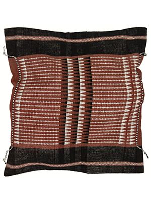 Puce Hand-woven Cushion Cover from Nagaland with Tribal Motifs