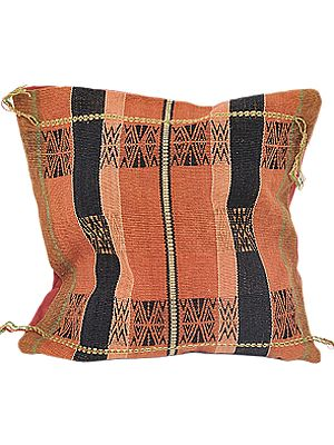 Adobe Hand-woven Cushion Cover from Nagaland with Tribal Motifs