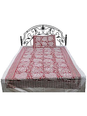 Gray and Red Single-Bed Bedspread from Pilkhuwa with Printed Hearts