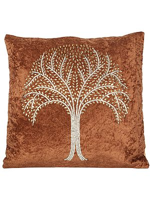Cushion Cover with Crystals and Stones Embellished Tree