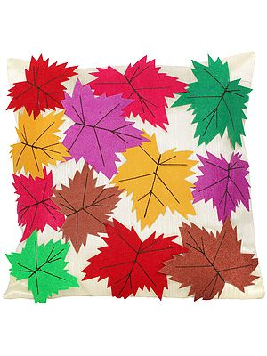 Afterglow Cushion Cover with Applique Chinar Leaves