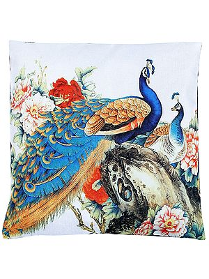 Snow-White Cushion Cover from Jaipur with Digital-Printed Peacocks