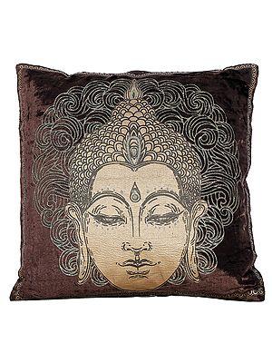Golden Printed Buddha Cushion Cover