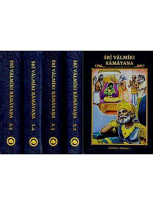 Sri Valmiki Ramayana- Ayodhya Kanda, Notes Based on Four Ancient Commentaries (Set of 5 Volumes)