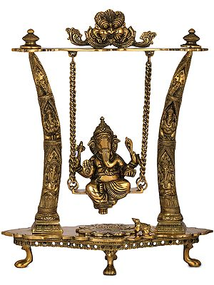 Ganesha Swing - Pillars Decorated with Ganesha Figures