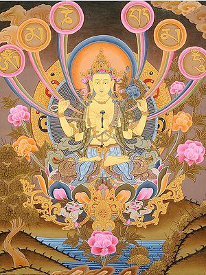Tibetan Buddhist Chenrezig - The Four-Armed Avalokiteshvara