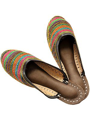 Rainbow Ari-Embroidered Slippers from Punjab