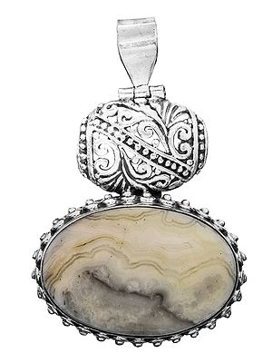 Gemstone Oval Pendant with Lattice