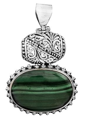 Gemstone Oval Pendant with Lattice