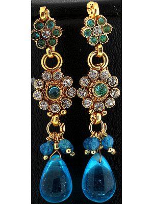 Polki Earrings with Glass