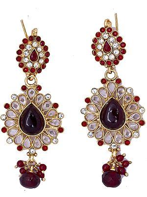 Garnet-Red Polki Earrings