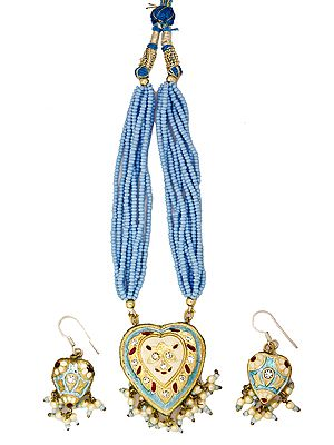 Sky-Blue Beaded Bunch Necklace with Heart-Shape Pendant and Earrings Set