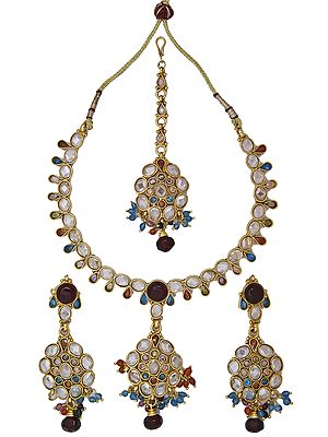 Tri-Color Polki Necklace Set with