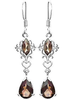 Sterling Silver Earrings with Faceted Gems