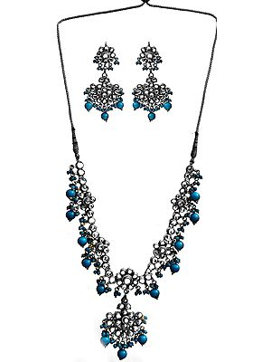 Faux Turquoise Kundan Necklace with Earrings Set