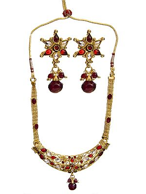 Red Polki Necklace Set with Earrings