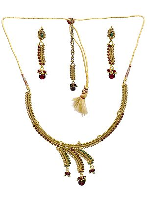Designer Faux Ruby and Emerald Necklace with Earrings and Tika Set