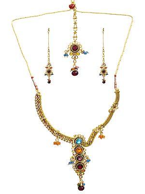 Designer Polki Necklace Set with Mang Tika