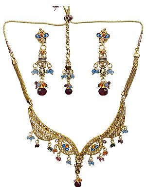 Multi-Color Polki Necklace Set with Mang Tika