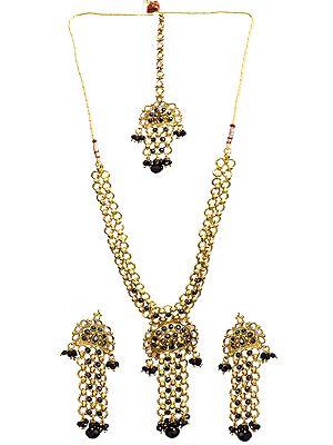 Black Linked Polki Necklace Set with Mang Tika