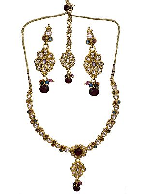 Multi-Color Floral Polki Necklace Set with Mang Tika