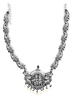 Shiva-Parvati Pendant With Pristine Drops Neckpiece (South Indian Temple Jewellery)