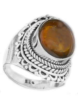 Amber Ring with Filigree
