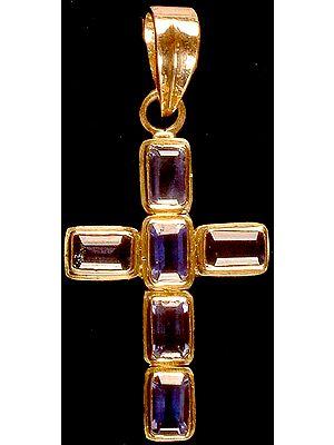 Faceted Iolite Cross Pendant