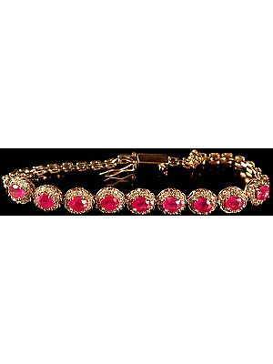 Faceted Ruby Bracelet with Diamonds
