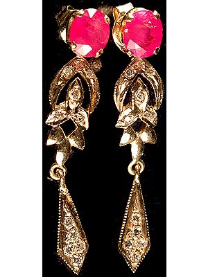 Faceted Ruby Earrings with Diamonds