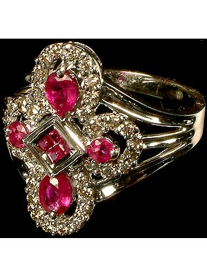 Faceted Ruby Superfine White Gold Finger Ring with Diamonds