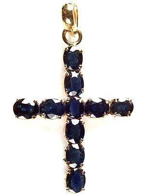 Fine Cut Sapphire Cross Pendant