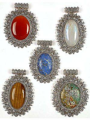 Lot of Five Oval Gemstone Pendants<br>(Carnelian, Rainbow Moonstone, Lapis Lazuli, Tiger Eye & Turquoise)